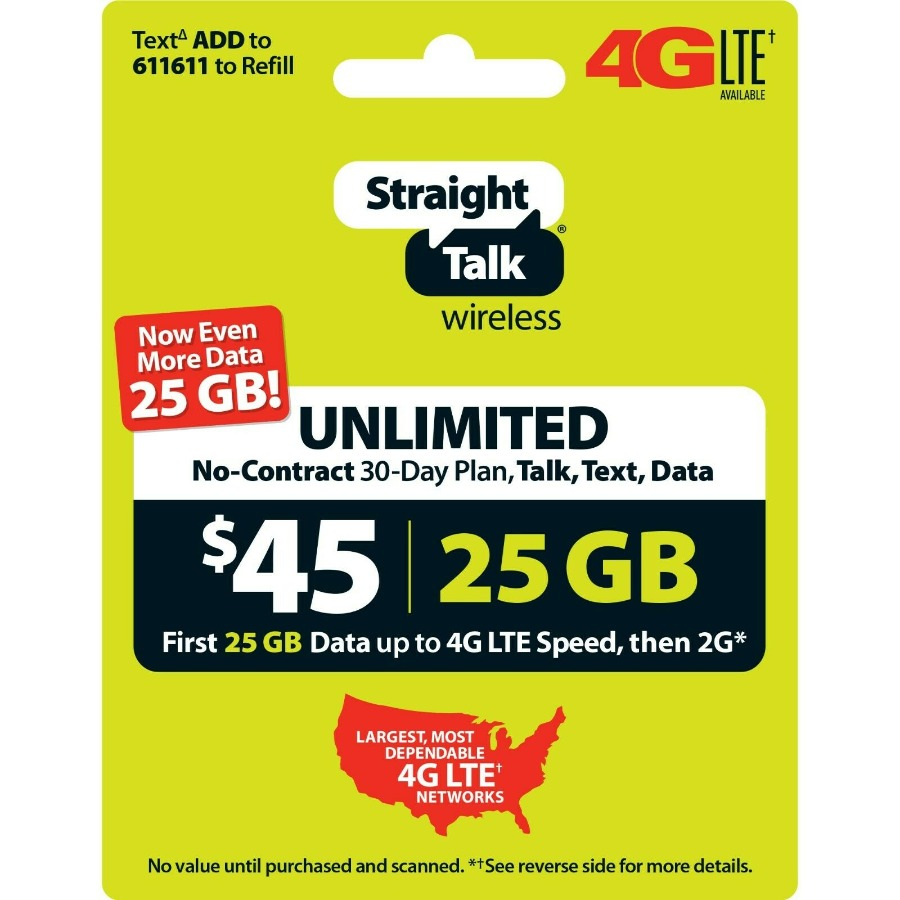 Straight Talk $45 Unlimited 30 Day Plan (with 25GB of d