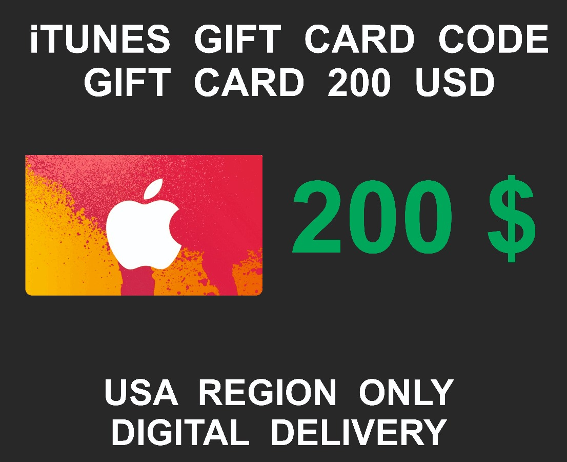 Itunes Gift Card, Key, Code, 200 USD, USA Account Only