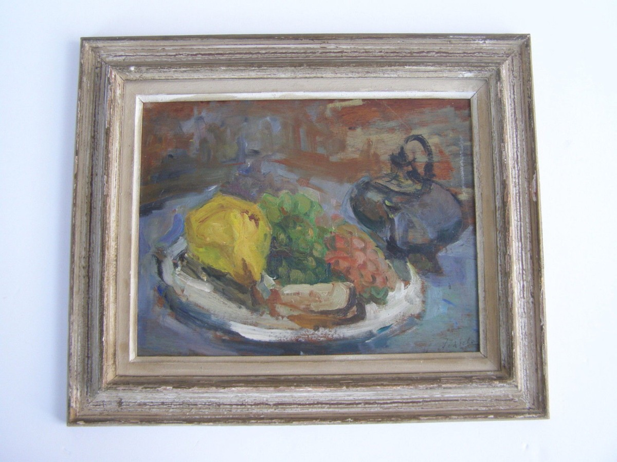 Marvelous still life French oil on board painting