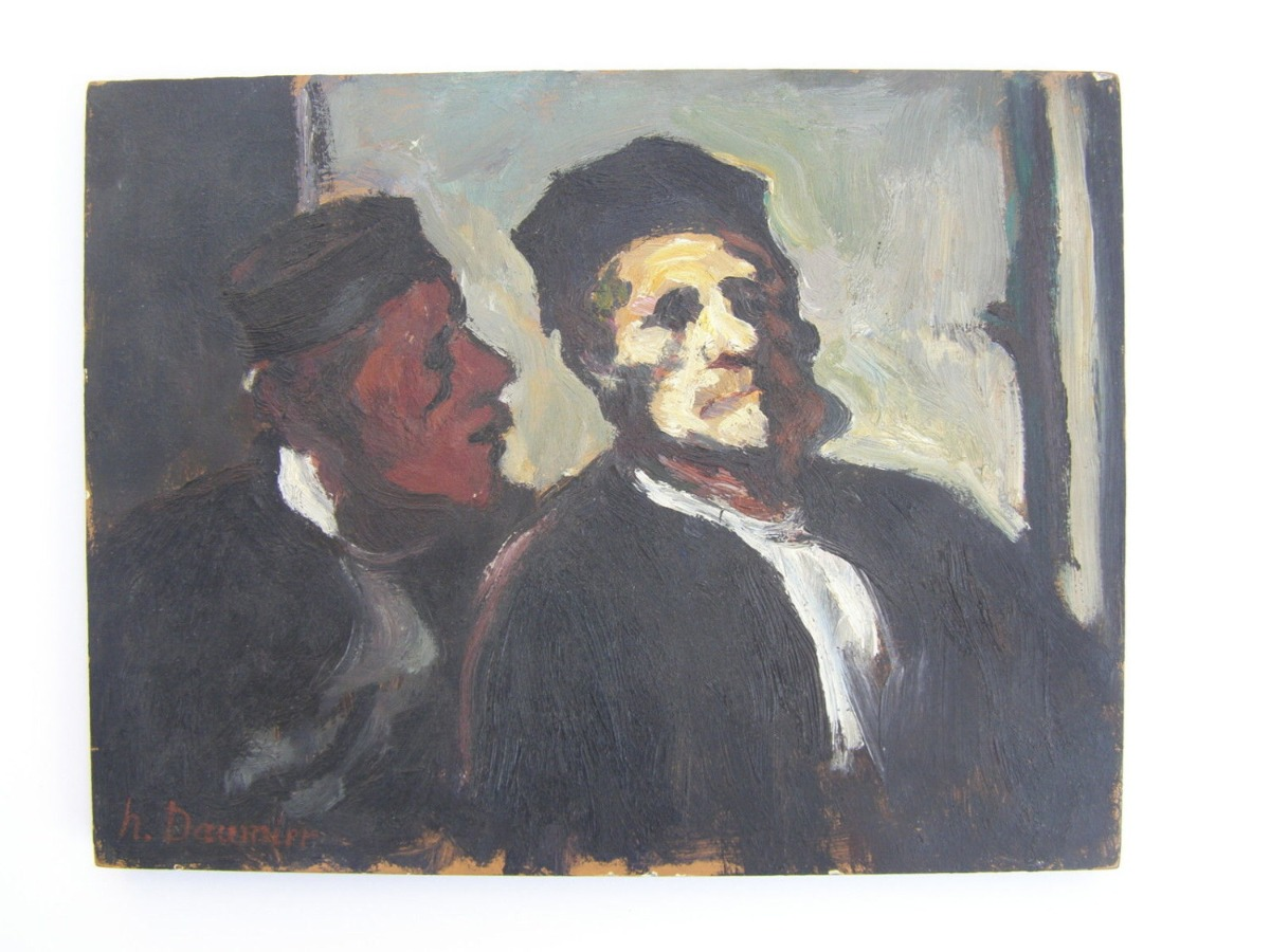 Honoré Daumier {school} French, 1808-1879 oil on wood