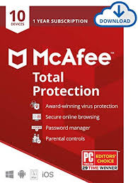McAfee Total Protection 10-PCs 1 year
