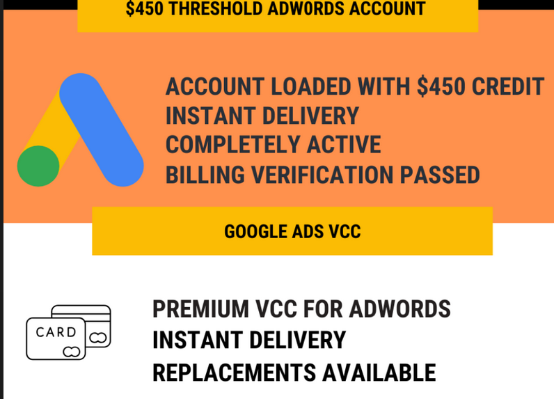 Adwords Fully Verified $450 Credits Account and VCC