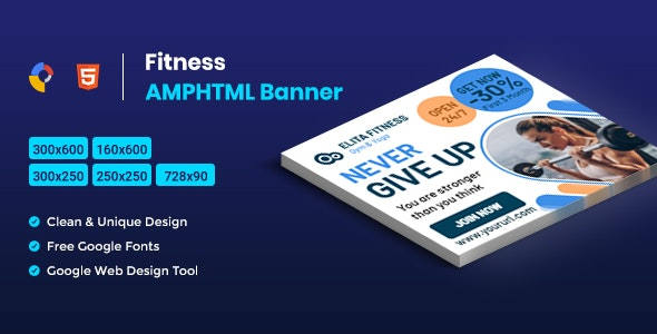 Fitness AMPHTML Banners ads template