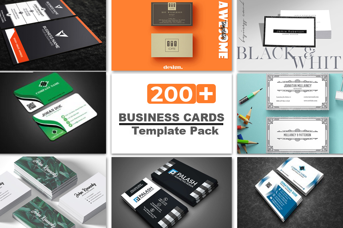 200 Business Cards Template Pack Editable - PSD, AI