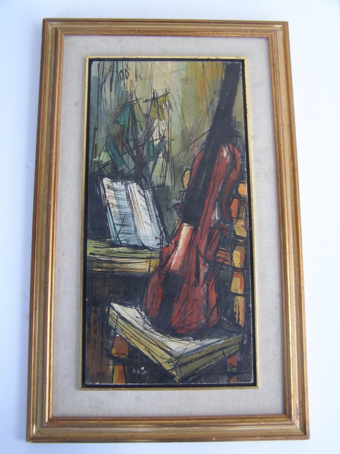 Violin musician marvelous oil on canvas painting 1962