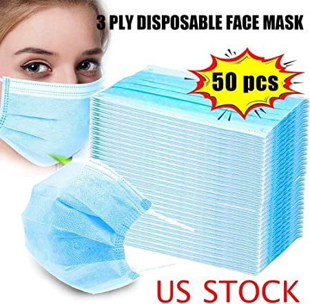 3-Ply Disposable Face Mask 50 Count