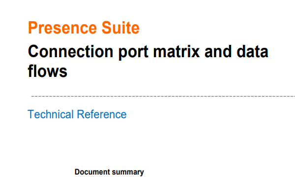 Presence- Connection port matrix and data flows V.11