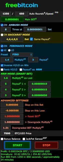 FreeBitco Bot with Multiple Bettings System