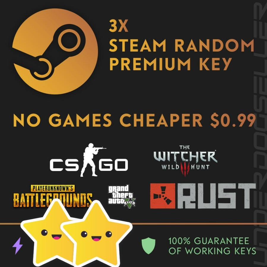 3X Steam Premium Random Key / CS:GO, PUBG, GTA V, RUST