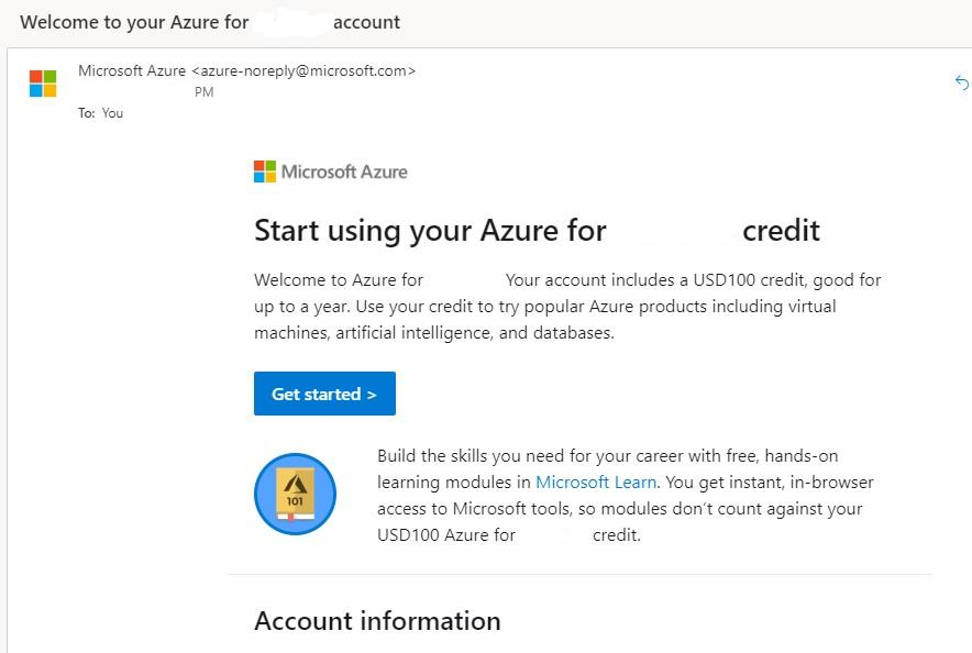 Azure Account With $100 credit
