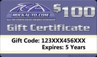 Rockauto 100$ E-Gift Cards  (Email Delivery)