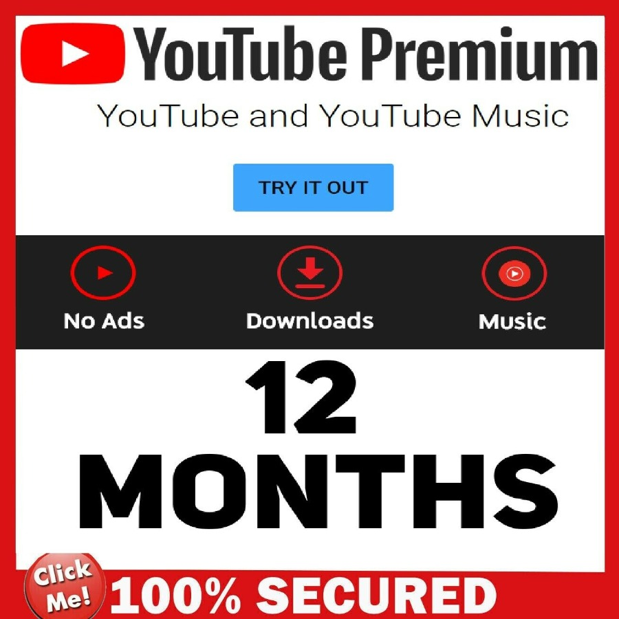 YouTube Premium & YouTube Music 12 Months NEW A/c