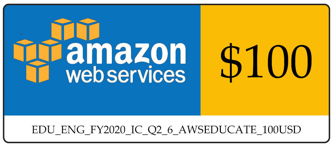 AWS $100 Amazon Web Servicese Credit Code 2020