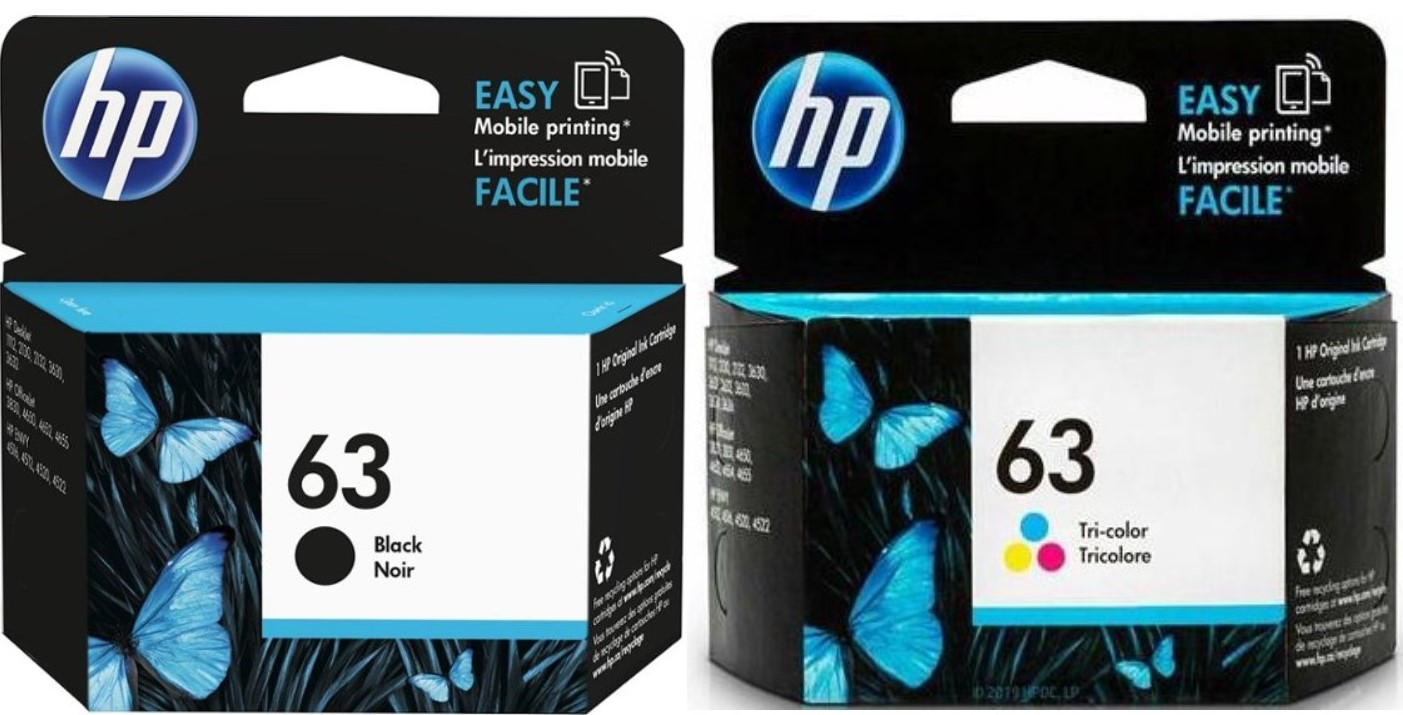 HP Ink Cartridges Color&Black # 63 (NEW)