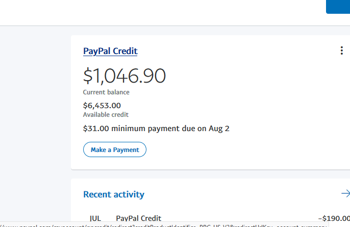 Aged PayPal Credit account with $5000 PayPal credit