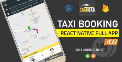 GrabCab React Native Full Taxi App v4.1.0