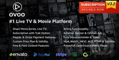 Live TV & Movie Portal CMS with Unlimited TV-Series