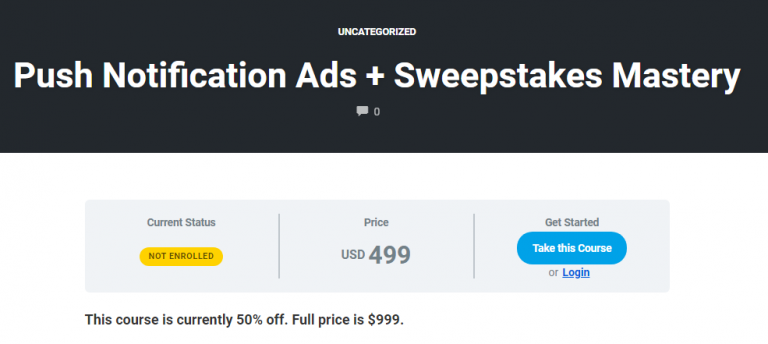 Nick Lenihan – Push Notification Ads + Sweepstakes