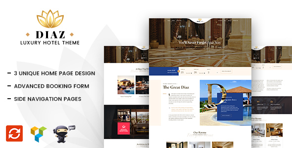 Hotel Diaz – Hotel Booking WordPress Theme – GPL