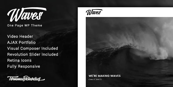 Waves – Fullscreen Video One-Page WordPress Theme ...