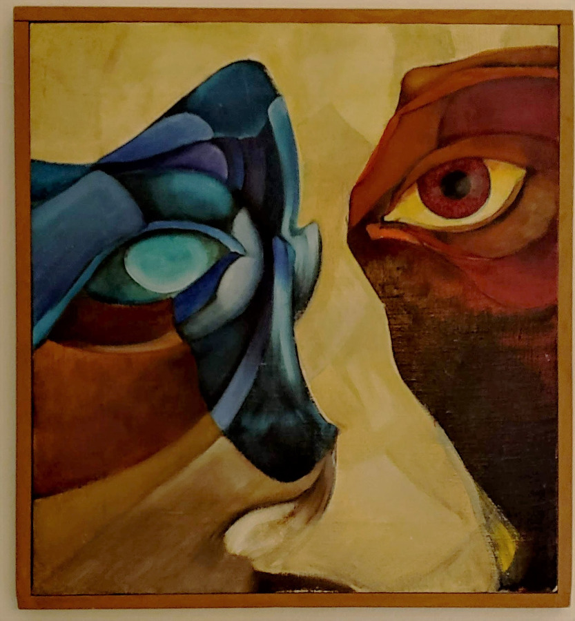 Original oil paint Zoomorphic Mask