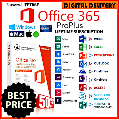 Microsoft Office 365 2019 Pro Plus 5 Devices 5TB