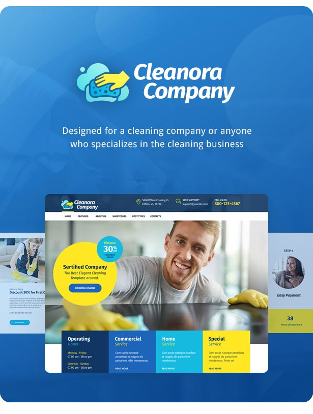 Cleanora – Cleaning Services WordPress Theme – GPL