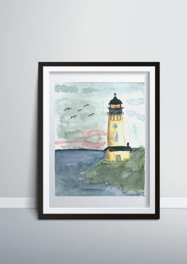 Old Light House Watercolor Painting Print