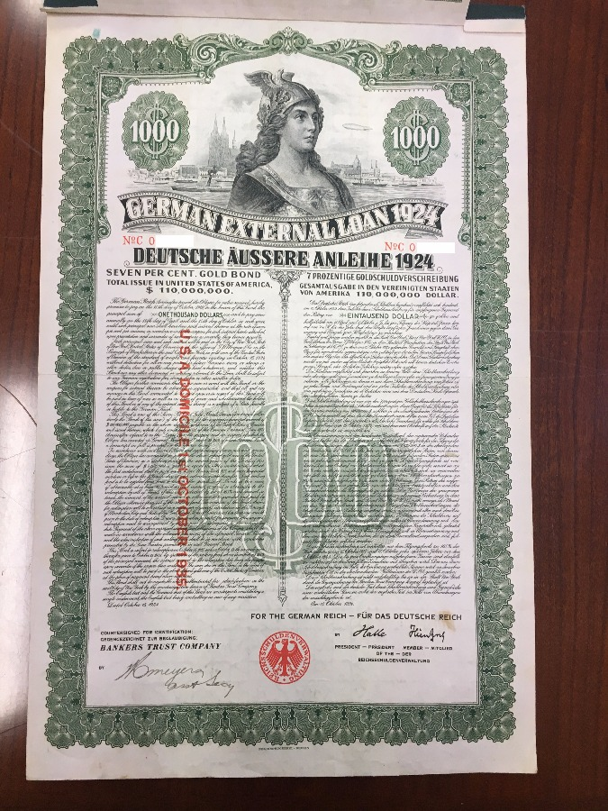 1924 German External Loan 7% Gold Bond – $1000 –...