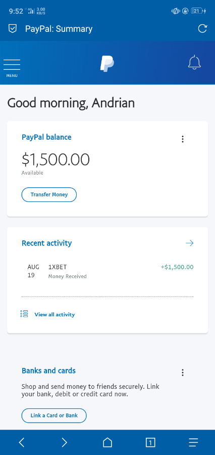 PayPal Account With Balance 1,500$ For Sell