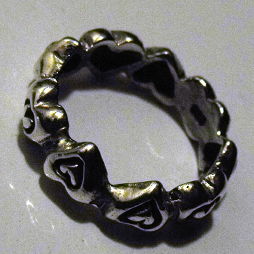 STERLING SILVER HEARTS W/IN HEARTS RING size 6