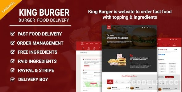 King Burger - Restaurant Food Ordering website with Ing