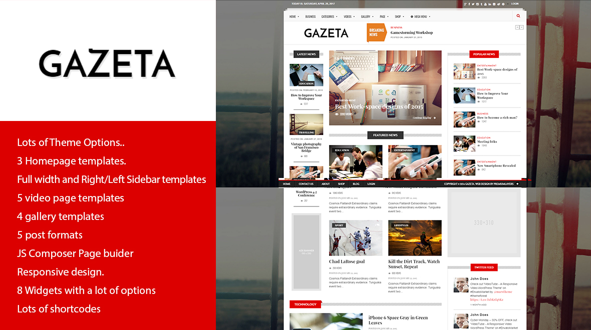 Gazeta – Responsive Magazine WordPress  Theme – GPL