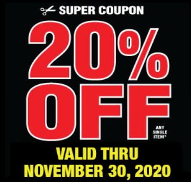 20% Off Any Single Item at Harbor Freight