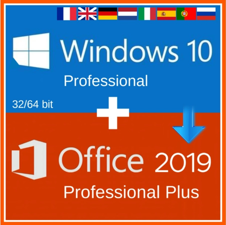 Windows 10 Pro Professional + Office 2019 Pro Plus 2019