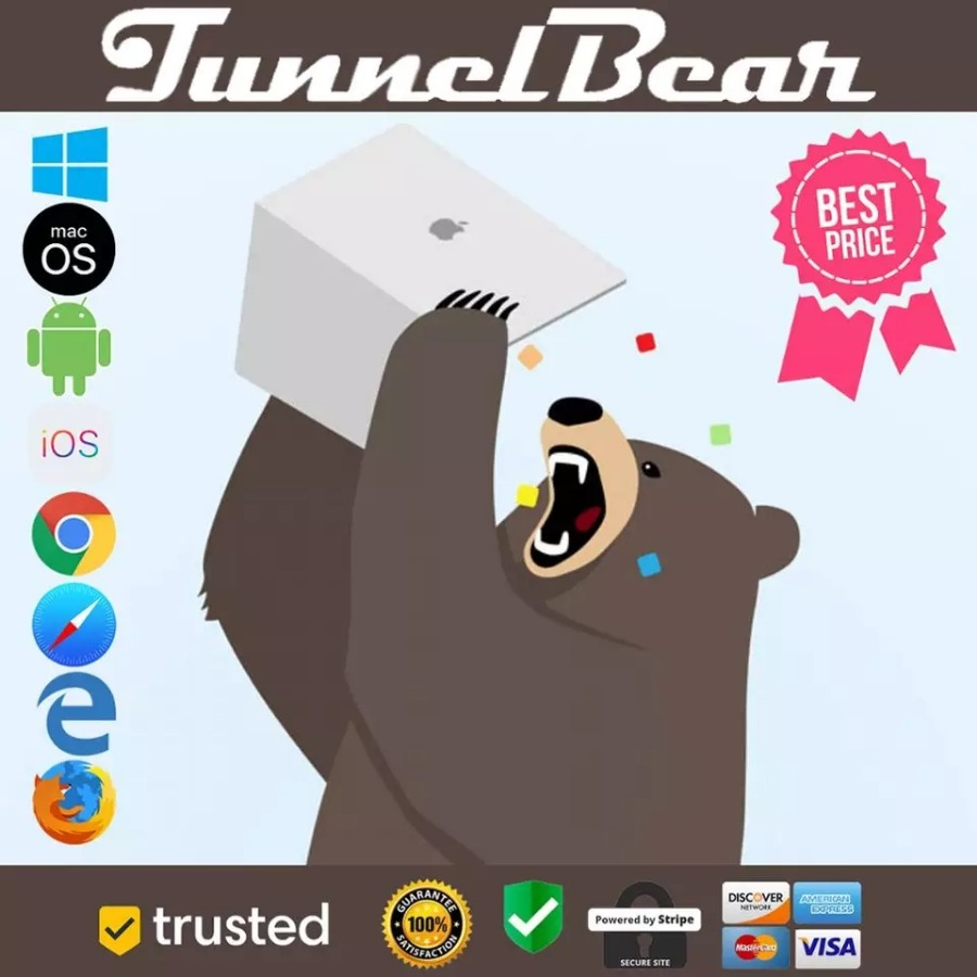 TUNNELBEAR VPN ✅  Premium Subscription ✅  Instan...