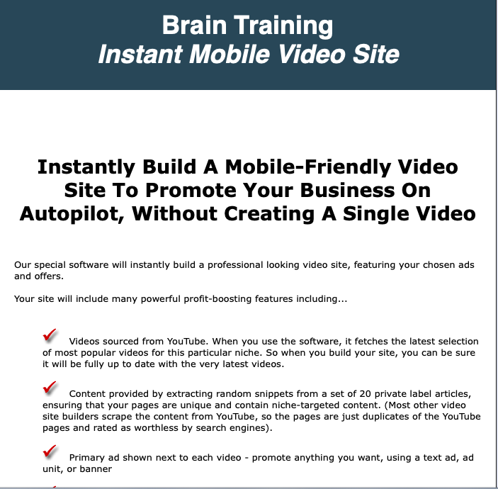 Brain Training Instant Mobile Video Site