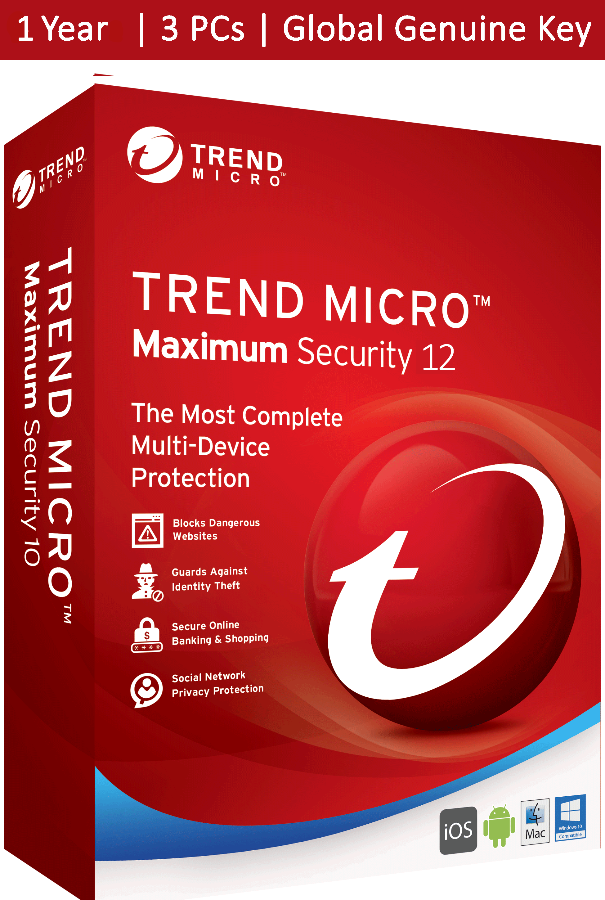 Trend Micro Maximum Security 2020 1 Year 3 Devices