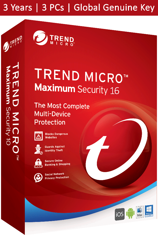 Trend Micro Maximum Security 2020 3 Years 3 Devices