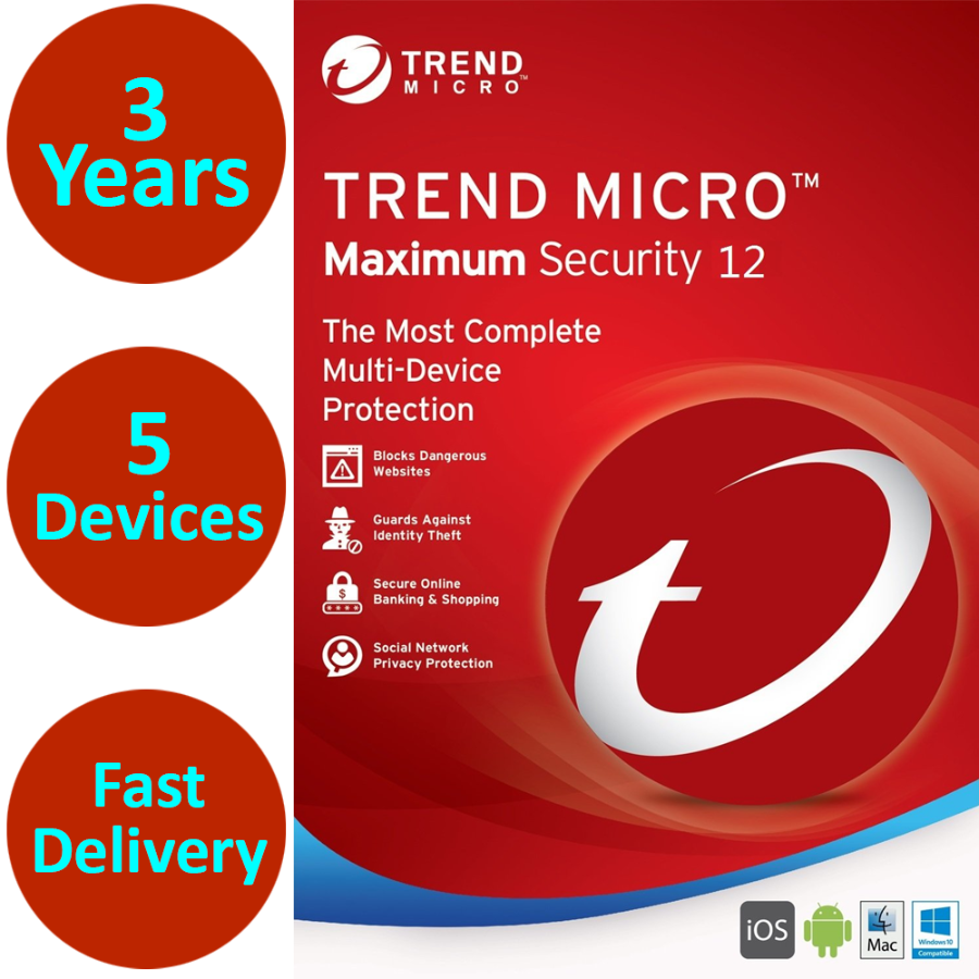 Trend Micro Maximum Security 2020 3 Years 5 Devices