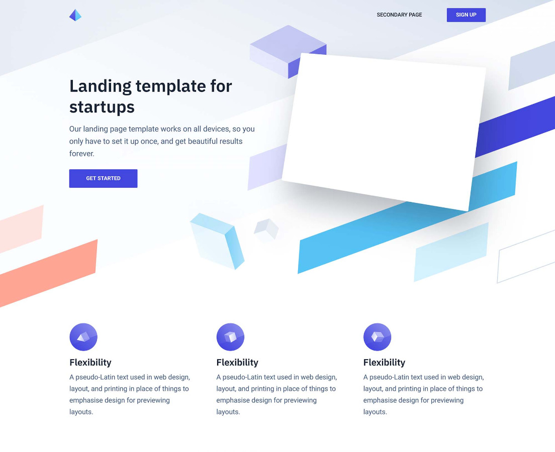 highly customisable landing page template for startups