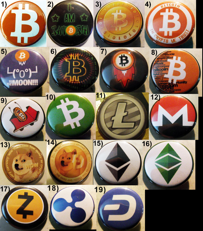 "100 1.75""  CRYPTOCURRENCY pinback buttons badge..."
