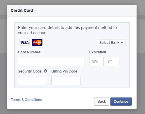 Facebook boosting virtual credit card with $50 balance