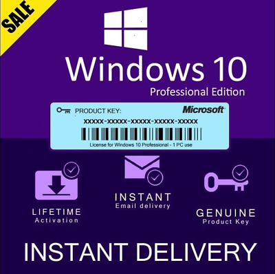 Windows 10 Pro 32/64 bit license key 10 instant deliver