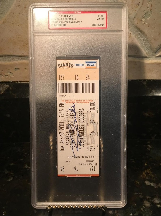 2001 San Francisco Giants Full Ticket Psa Mint 9 Barry