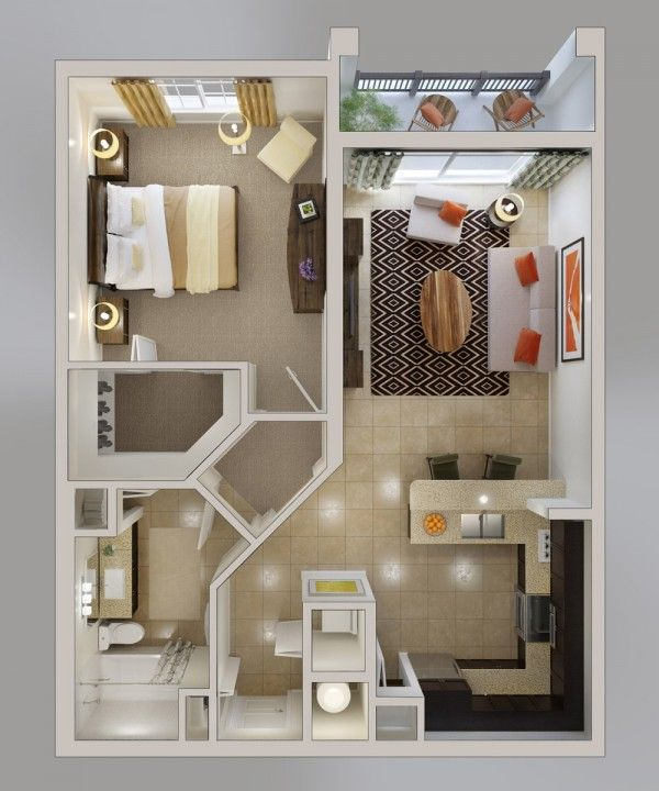 1 bedroom Automated home