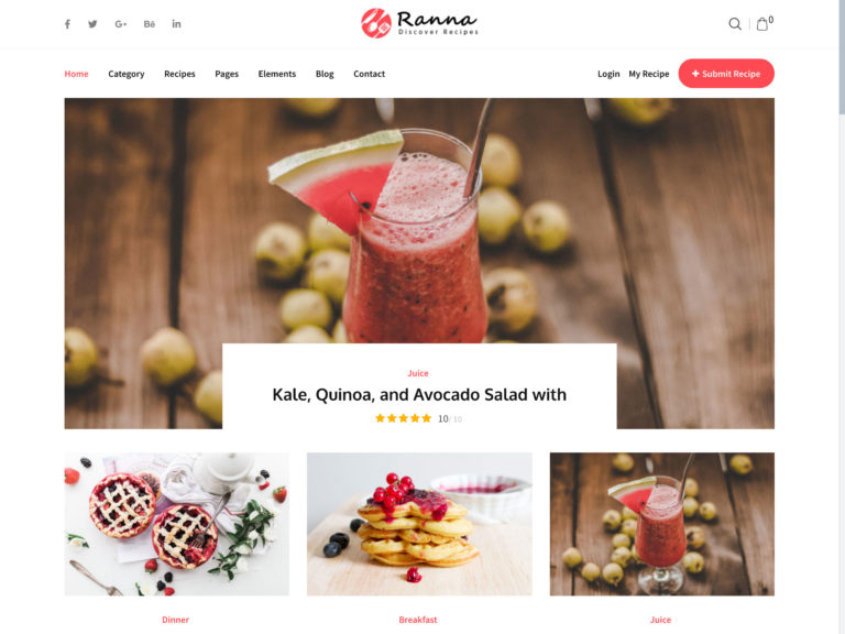 Ranna - Recipe Theme | Food Blogger WordPress Theme