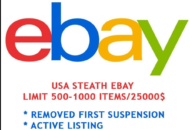 eBay Account Only – 250 - 500 items/$25,000 limit