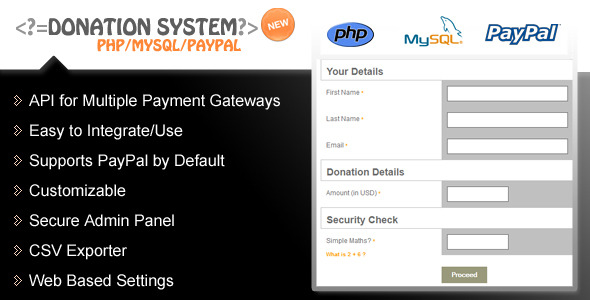 Donation Form / PHP / PayPal / Advanced Reporting