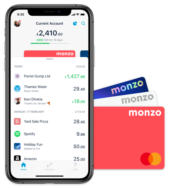 Monzo with physical card